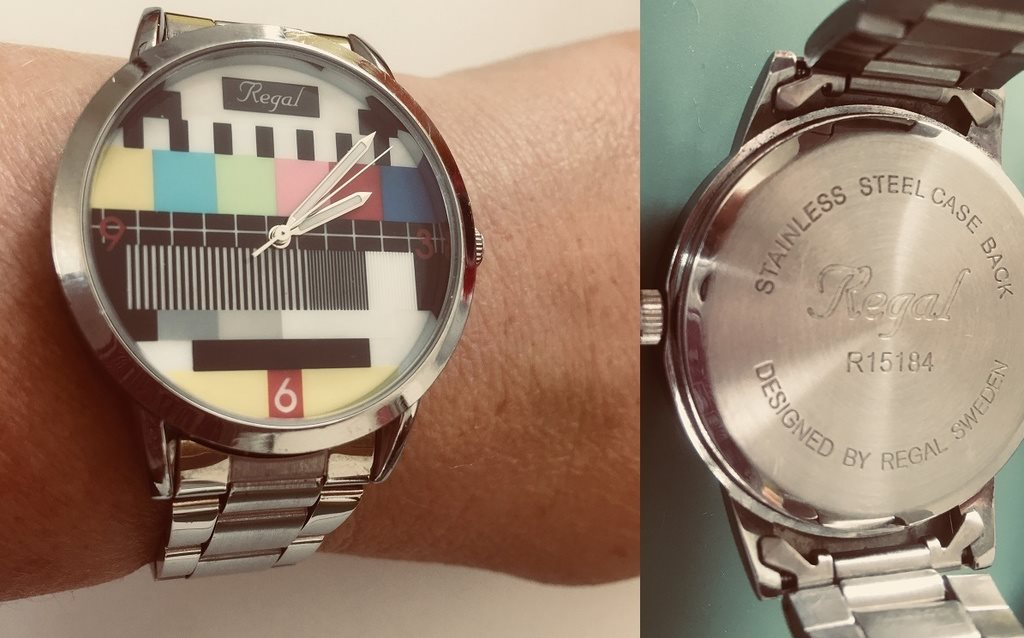 Design By Regal Stainless Steel armband samt klocka Retro 90 tal Testbild TV af13ec783cb34