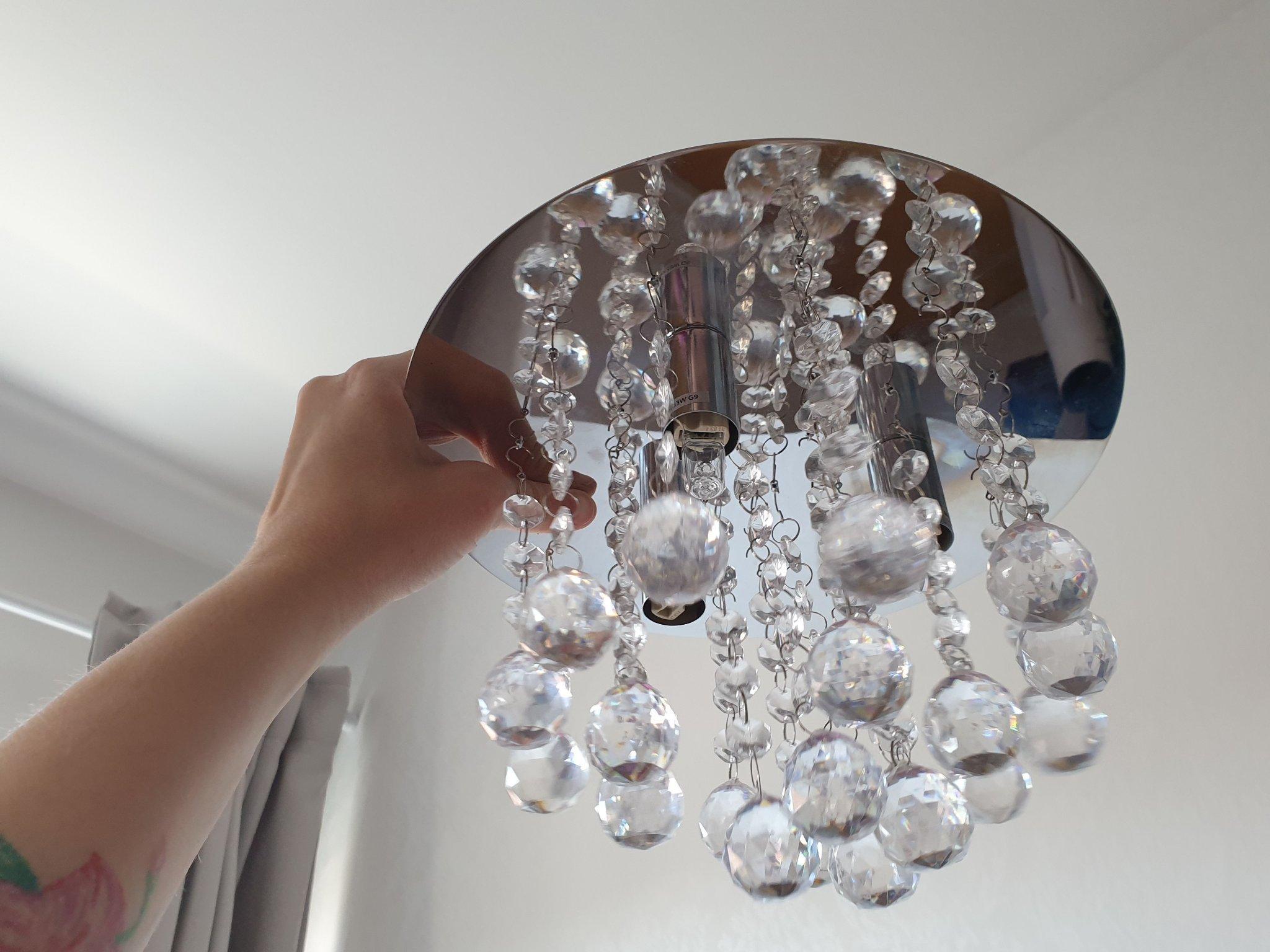 Fin lampa med prismor i glas! (397765359) ᐈ Köp på Tradera