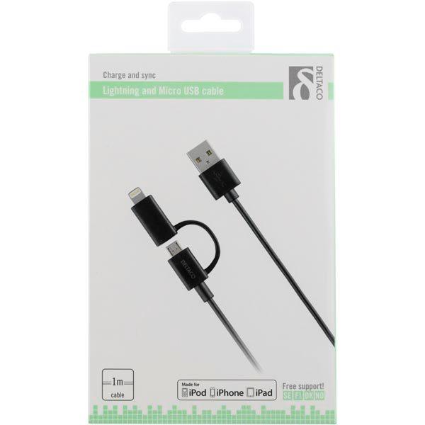 Deltaco Billaddare med lightning kabel för iPhone & IPad Svart