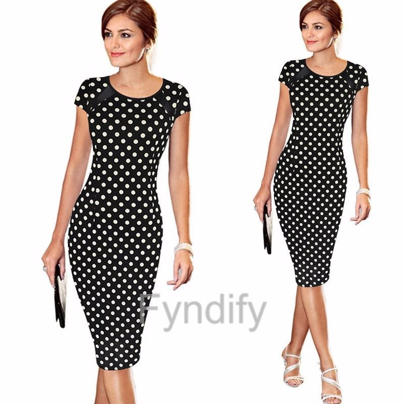 b6e77b7603d8 Evening Short Dress Svart Vita Prickar S.. (292455220) ᐈ Fyndify på ...