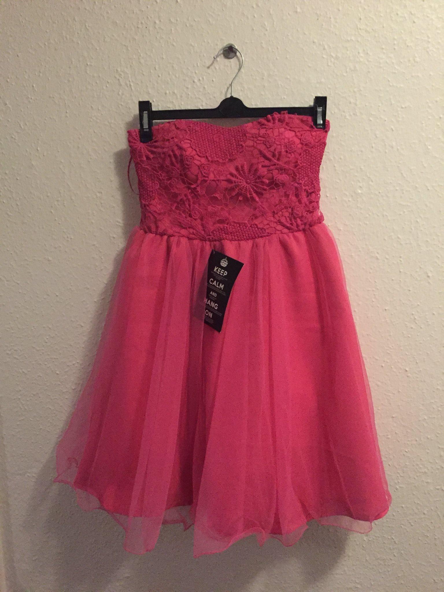 Rosa kort klänning ~ hot rosa ~ spets, spets, spets, tyll ~ storlek L mer som XS/S, 40. 2ef938