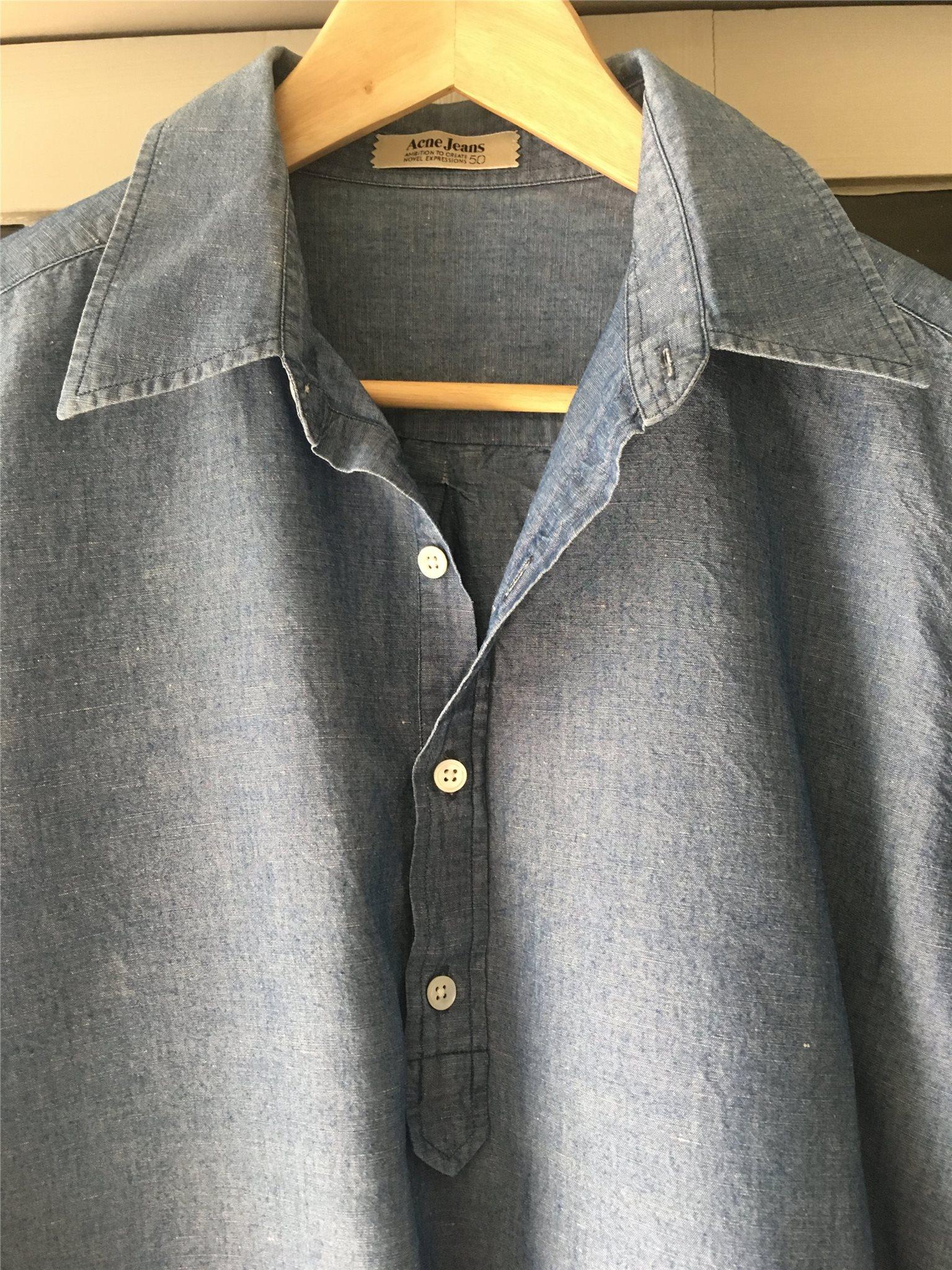 skjorta ACNE på 50 herr dam blå chambray unisex 42 qEwAnEBrU