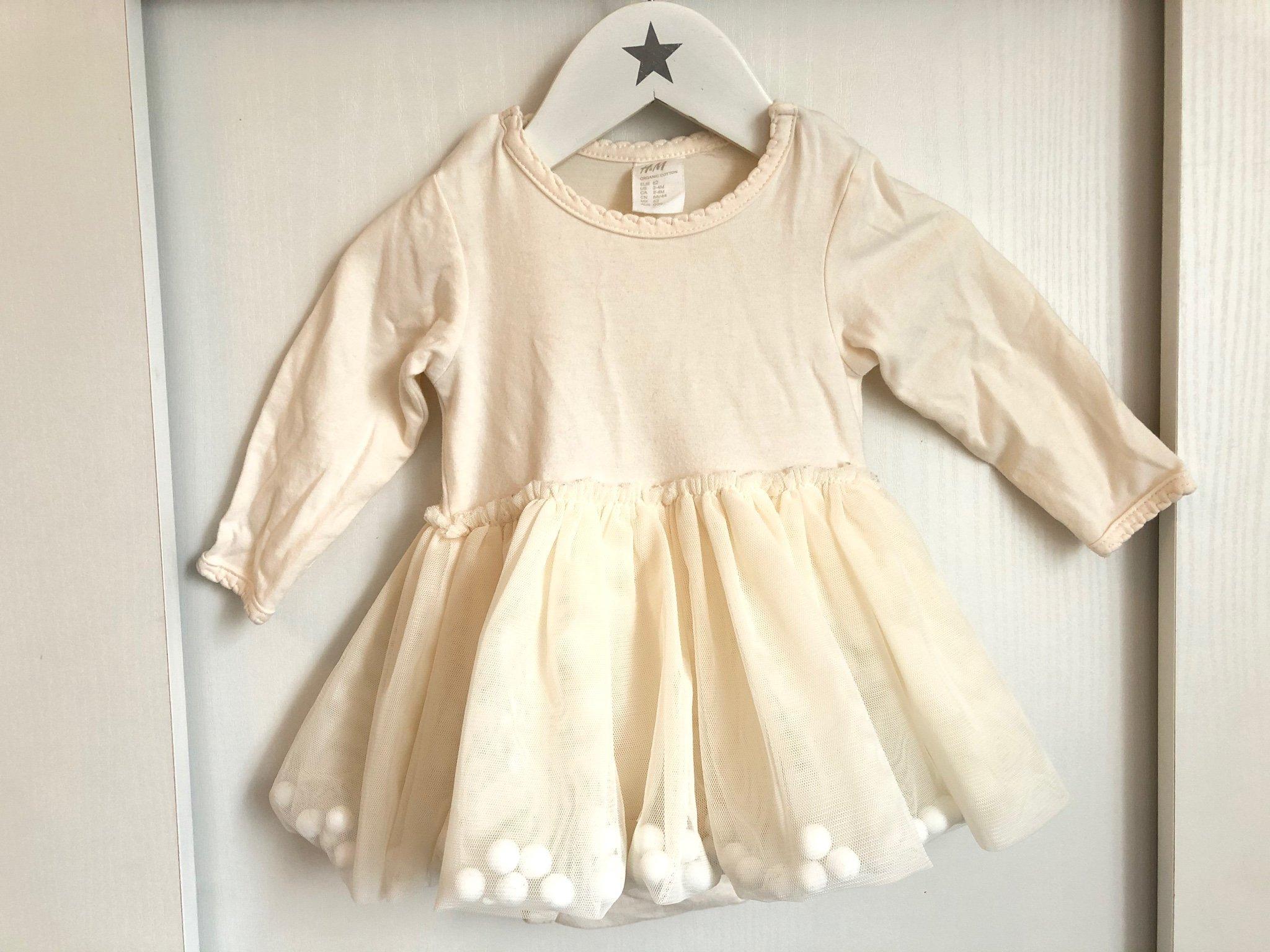 Söt klänning tyll bollar stl 62 H&M, cremefärgadljusgul body