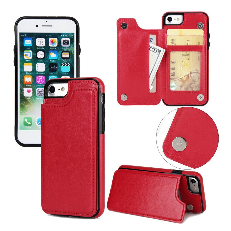 iPhone 7   8 Läder fodral med plånbok - Röd (299584200) ᐈ WePack på ... f554548742ca0