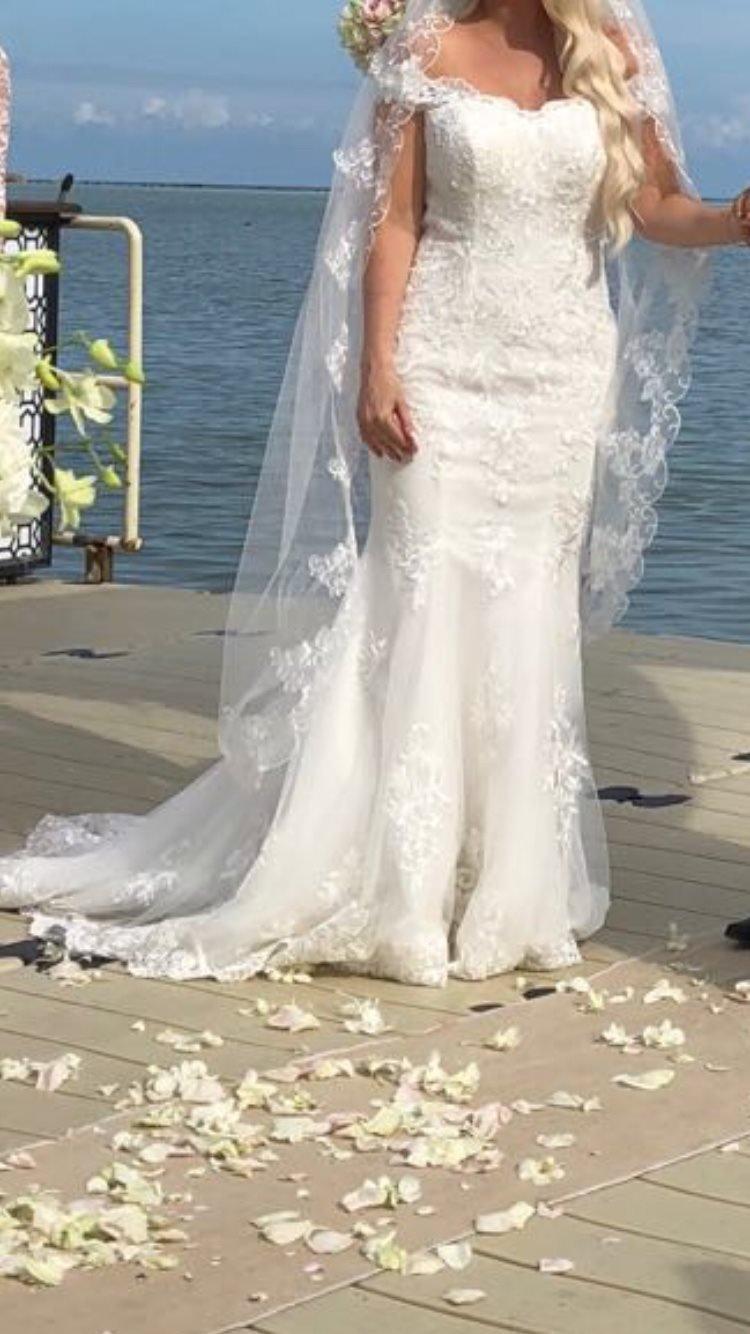 df298fe01ee4 Brudklänning Mermaid spets! Stl M (354051606) ᐈ Köp på Tradera
