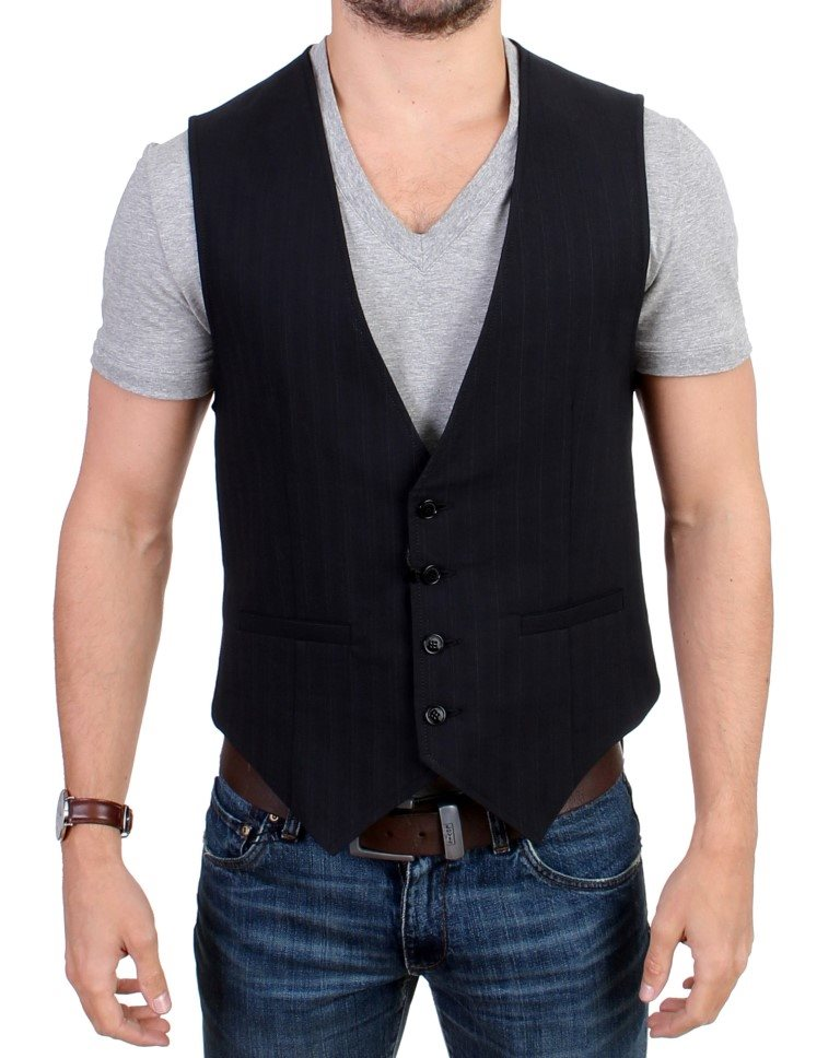 Costume National - Black striped cotton casual vest