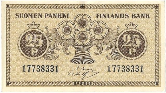 25 Penni/penniä, 1918, Finlands Bank