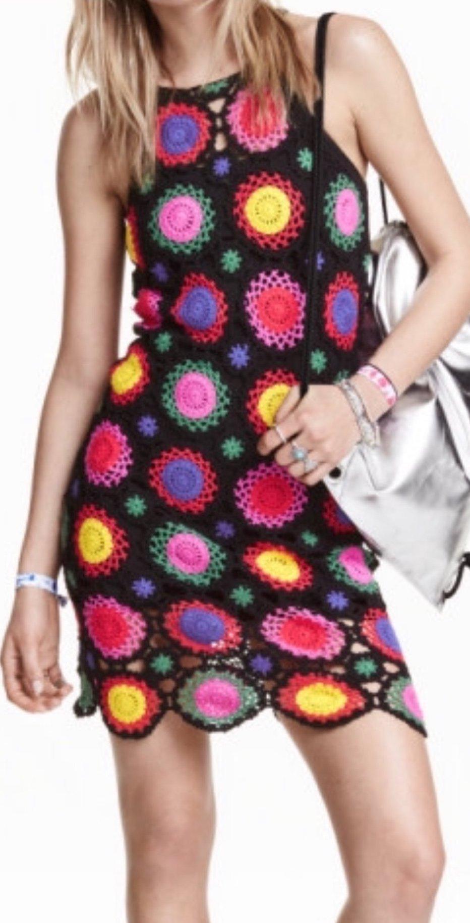 Virkad klänning från H&M Coachella strl 44 (406998125) ᐈ