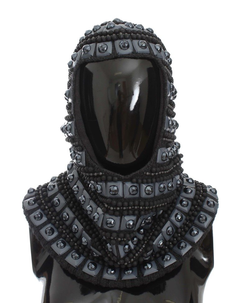 Dolce & Gabbana - Gray Cashmere Glass Pearl Beaded Hood Scarf Hat