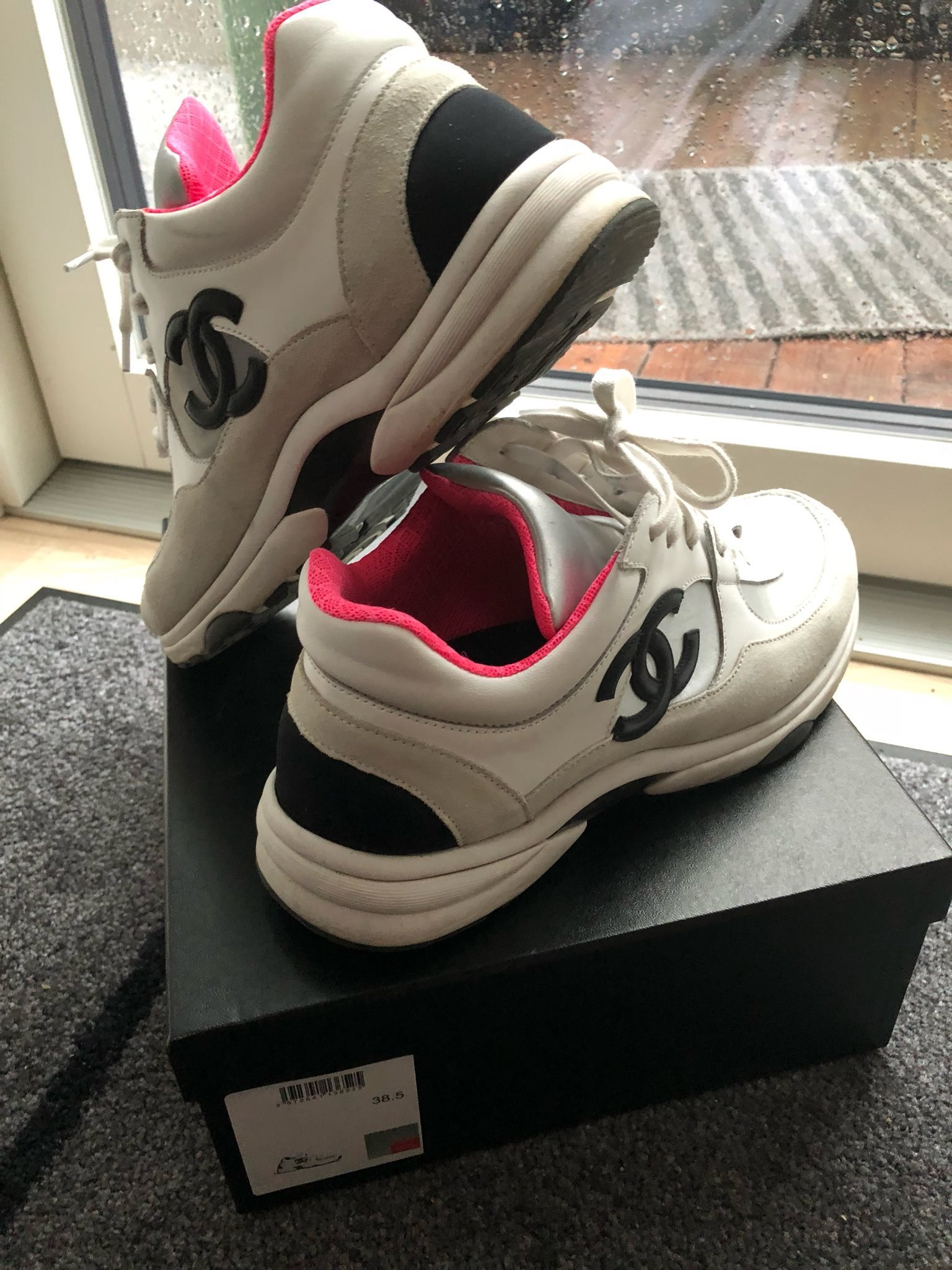pretty nice 58624 86786 Chanel Trainers Leather SilverPink Sneakers 2018 str 38,5 ...