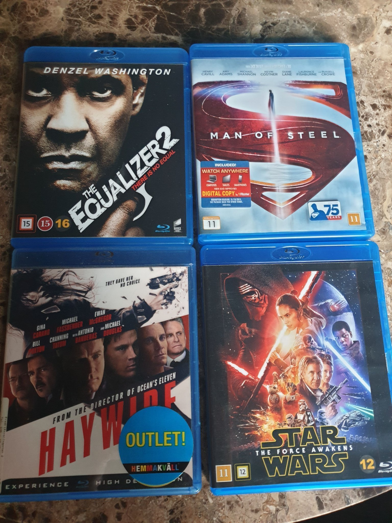 The equalizer2 / Man of Steel / Haywire / STAR WARS The force awakens