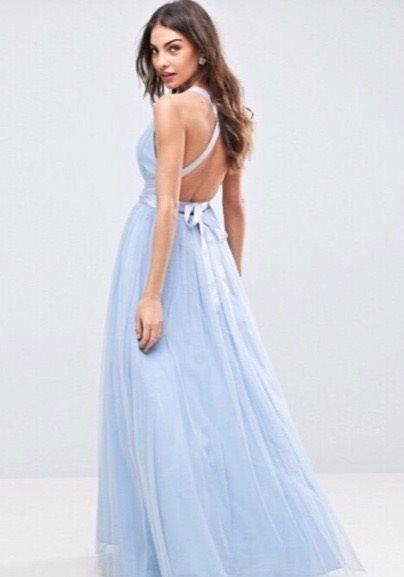 d9a5c418e93e NY ASOS Underbar Ljusbl Balklänning Aftonklänning Chiffong Studentbal  Bröllop 36 ...