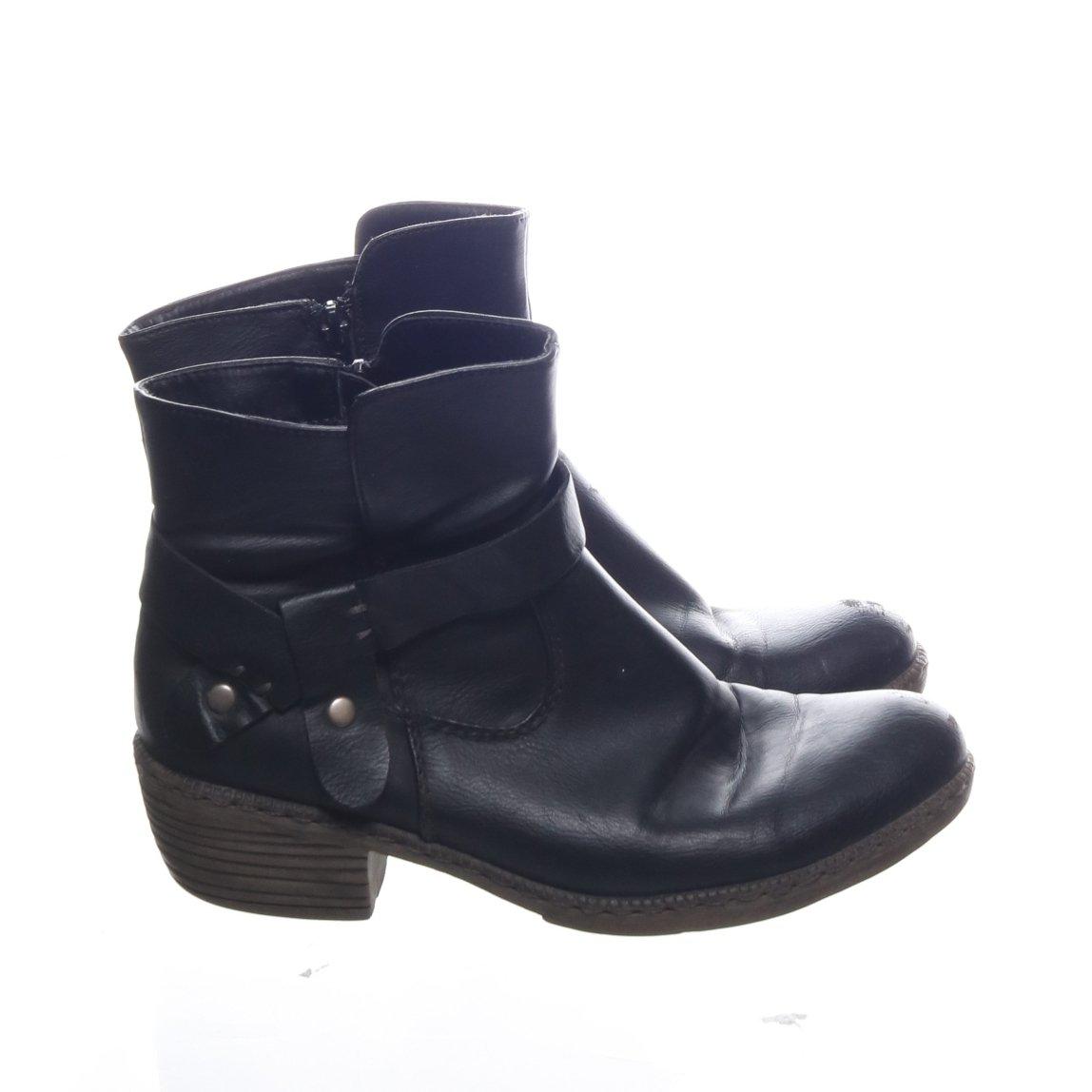 Rieker, Boots, Strl: 37, Svart, Skinn