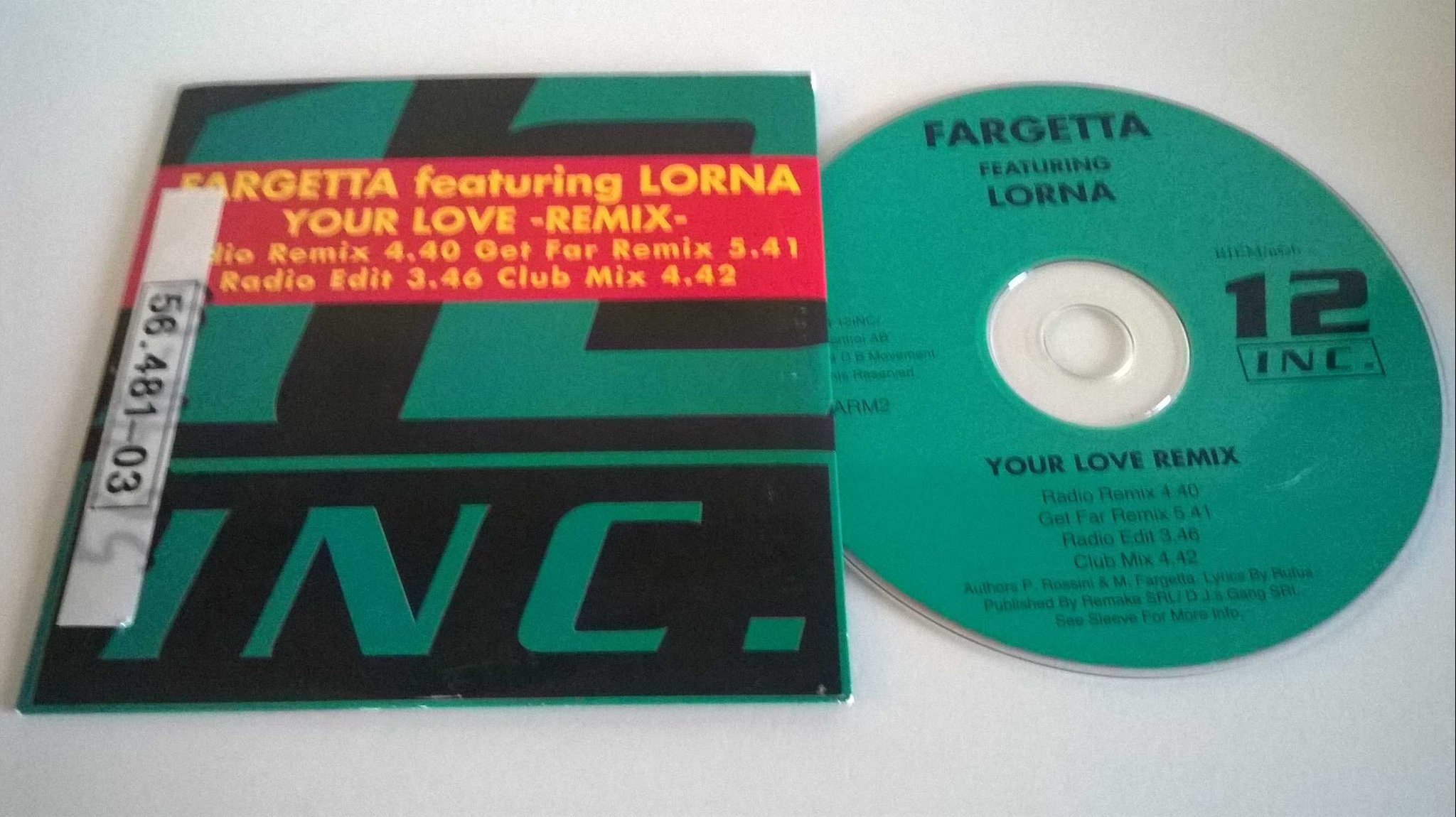 Fargetta featuring Lorna - Your love remix, single CD