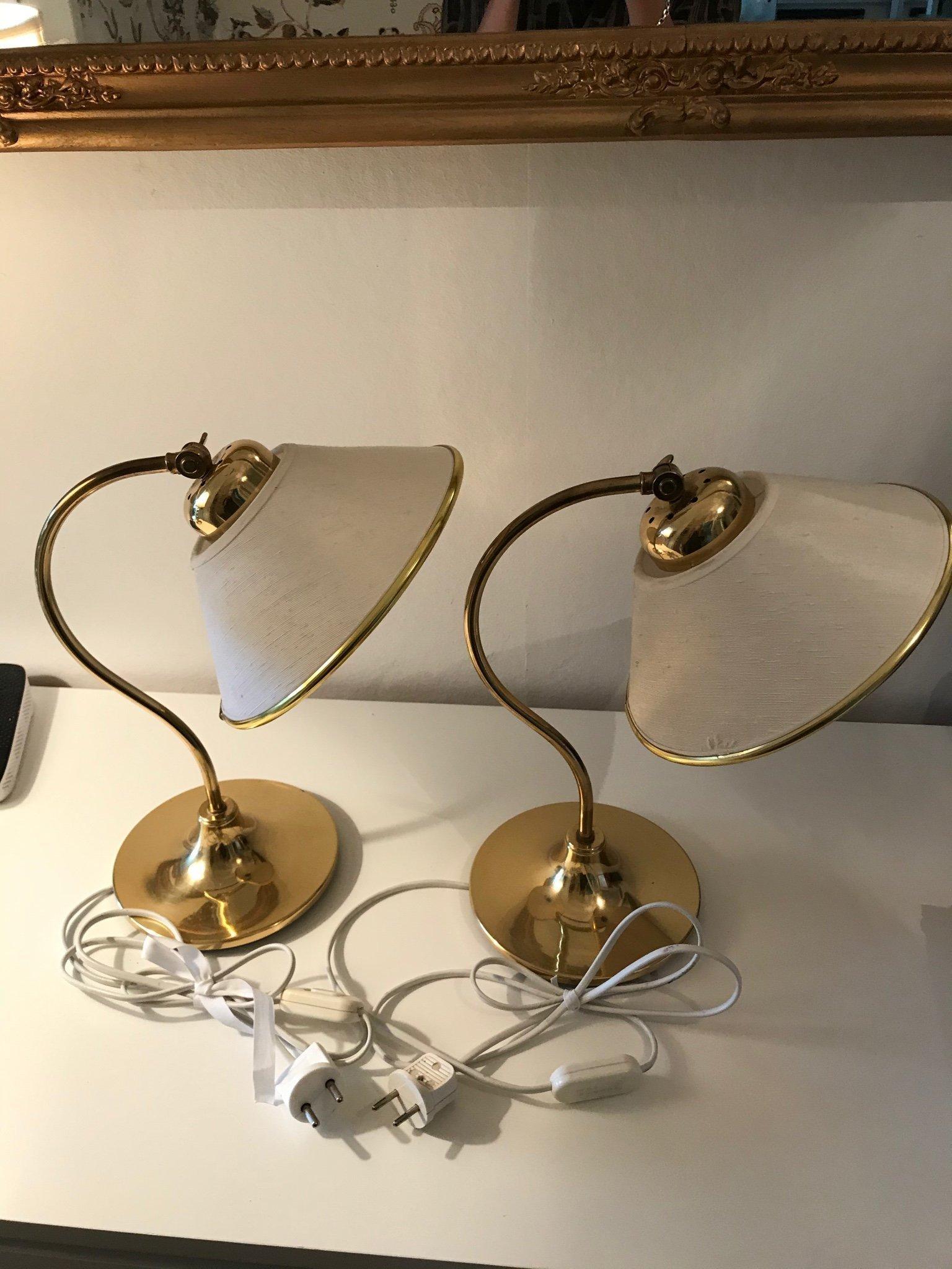 BORDSLAMPOR, 1 par, gulmetall, Ivars. Belysning & Lampor