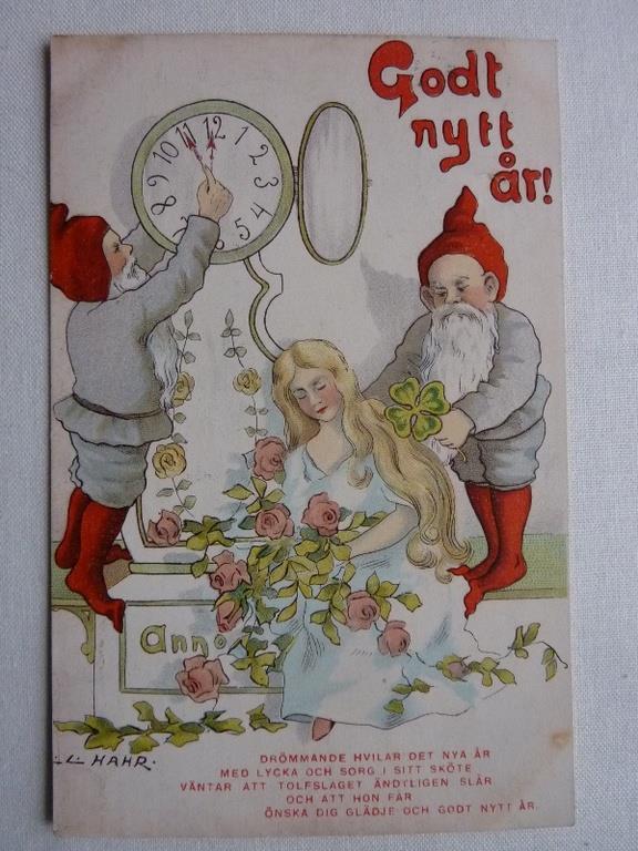 Äldre vykort nyår - Godt nytt år! - L.L. Hahr - stämplat 1908