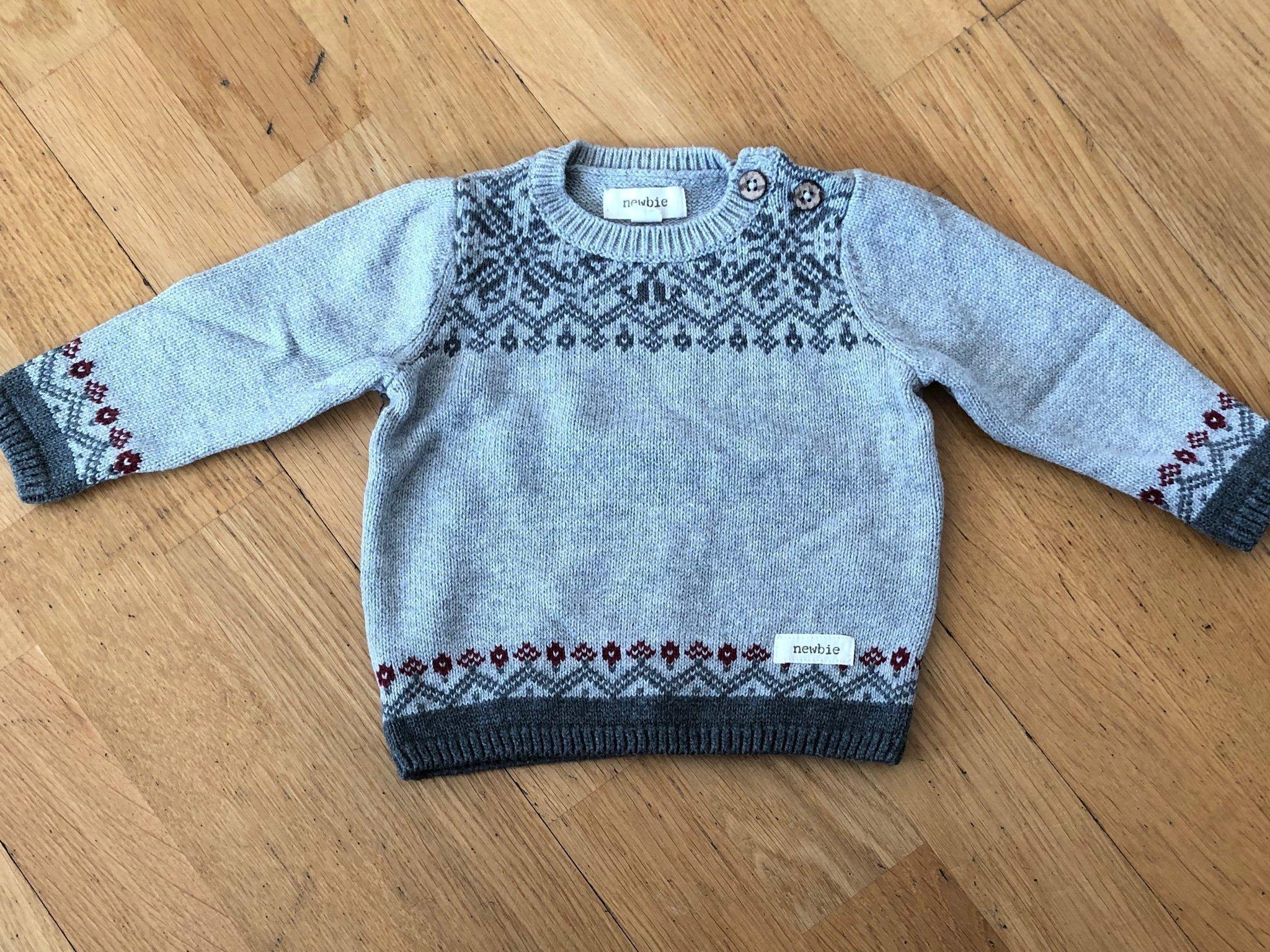 Stickad tröja med mönster, Newbie, KappAhl, stl. 62