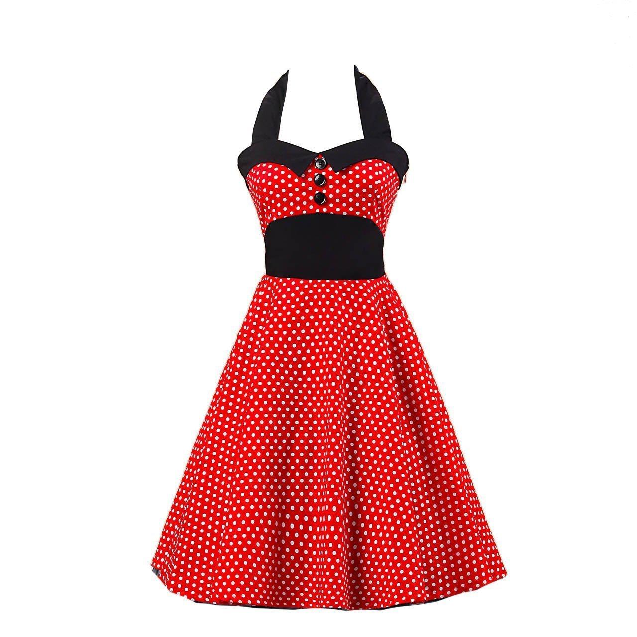 2b028f0bdcc0 Stl XXL Röd Polkadots Rockabilly Klänning 50 tal Swing Dress 46 48 DC4004  ...