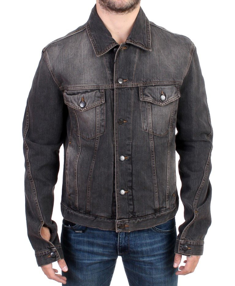 Cavalli - Gray wash denim jeans jacket