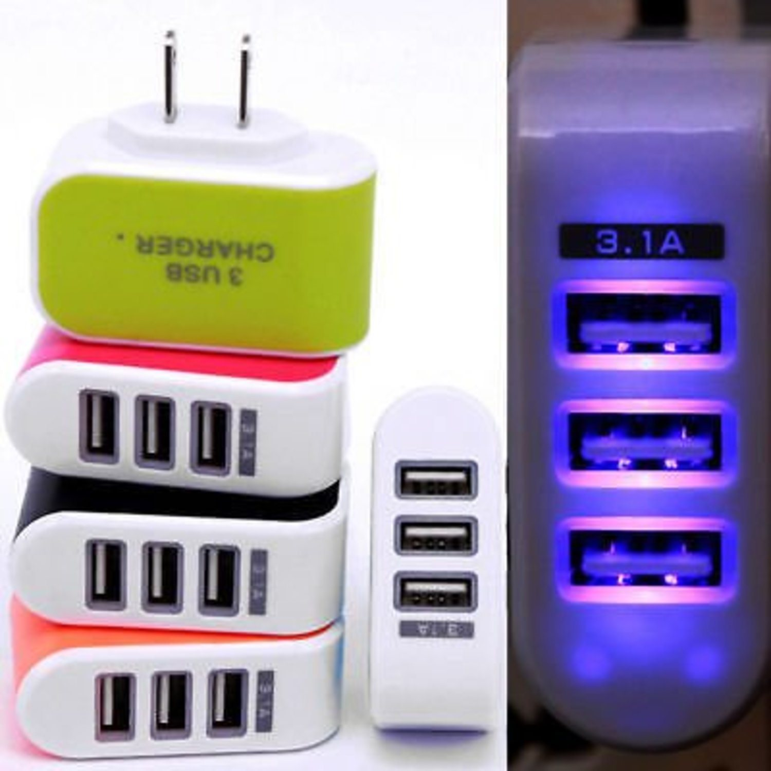 3.1A Multi Port USB Charger 3 Ports A...