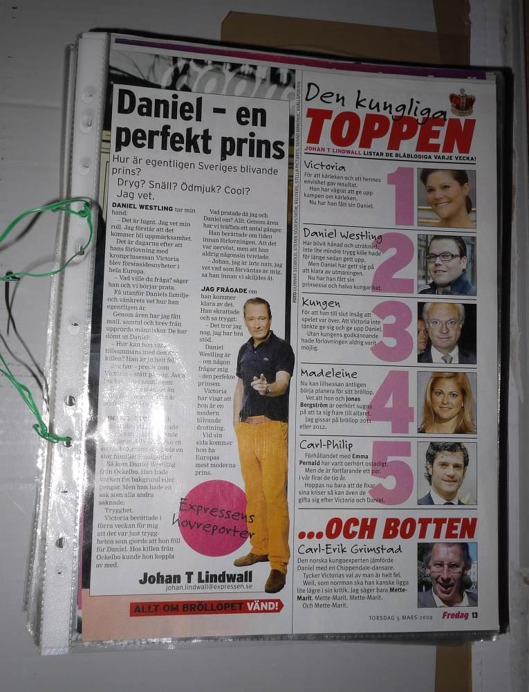 Prins Daniel Westling Tidningsklipp Kronprinsessan Victoria