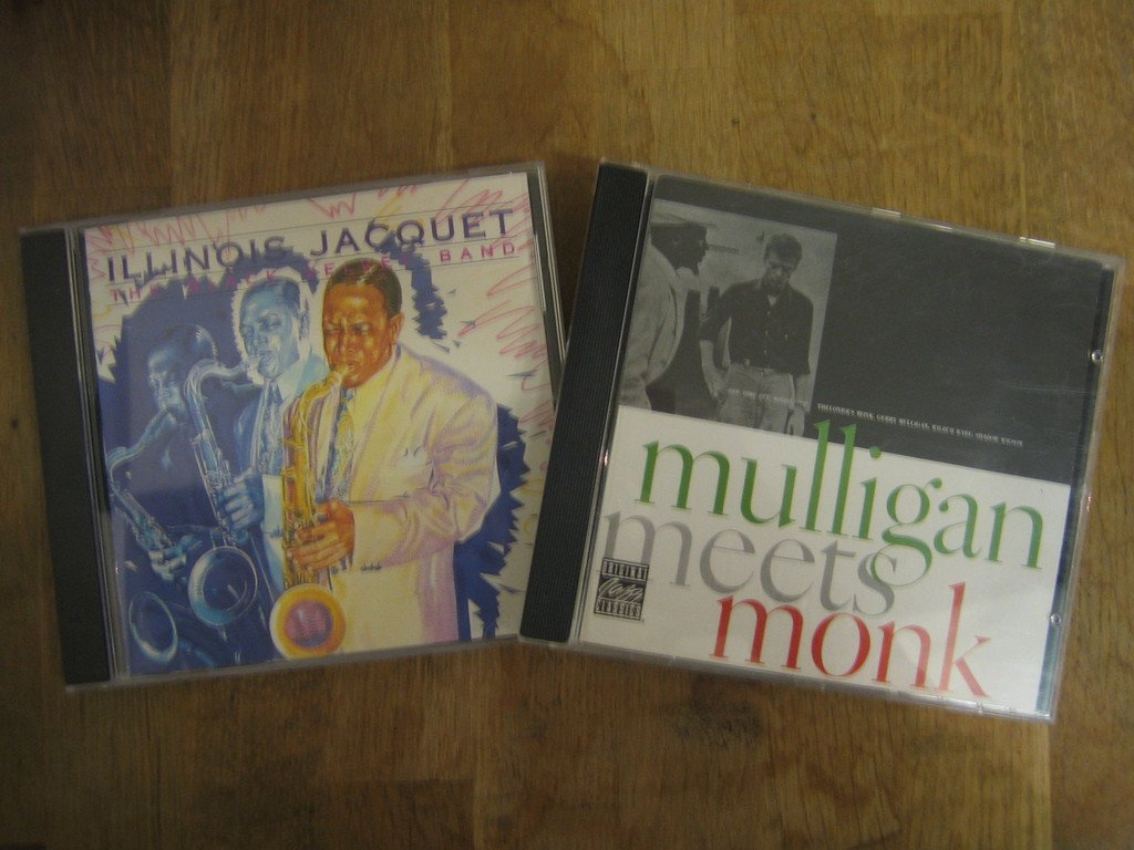 2 st CD-skivor: Illinois Jacquet samt Thelonious Monk And Gerry Mulligan.