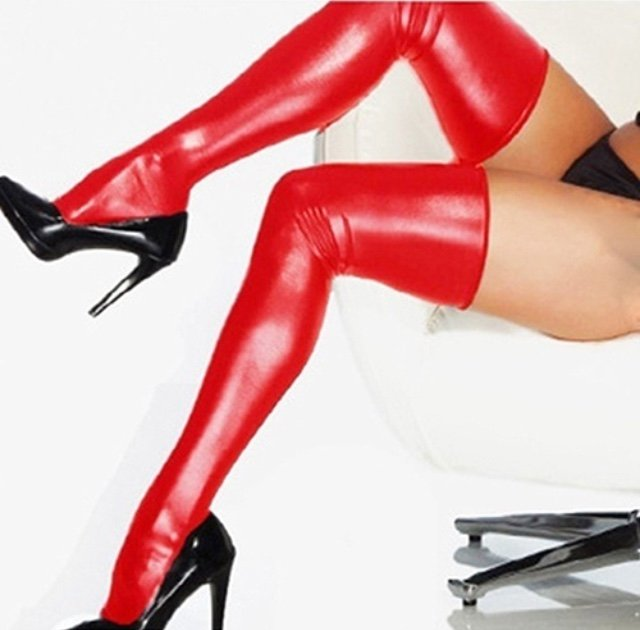 Hot sexy womens thigh high red stockings + thongs leather, latex lack fetisc