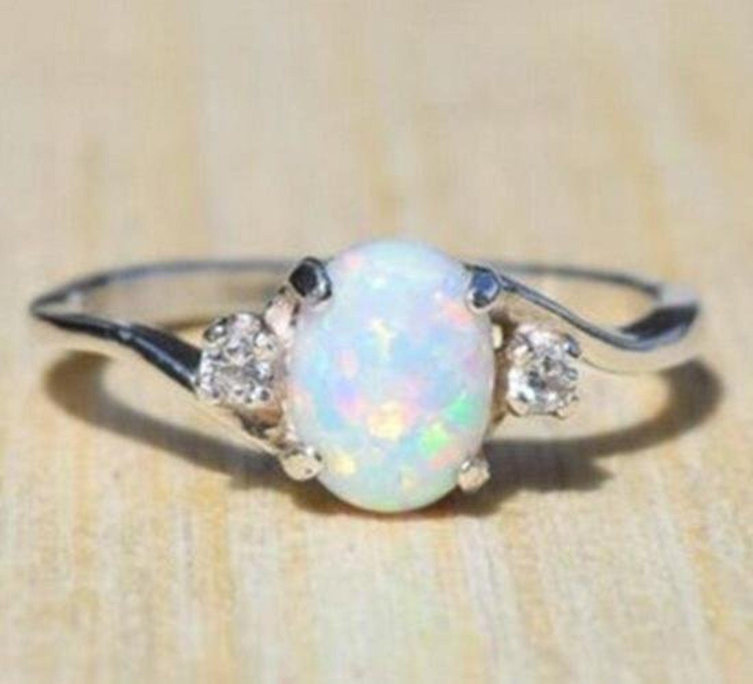 Fire Synthetic Opal Birthstone Ring P...