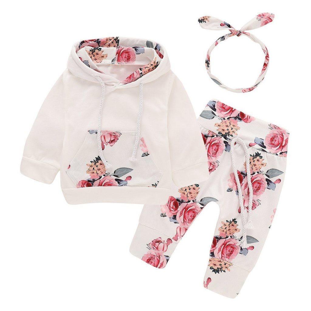 3-6 månader 3PCS nyfödda barn baby flicka kläder tröja tröja + blommor  byxor set 3281652ed6fdb