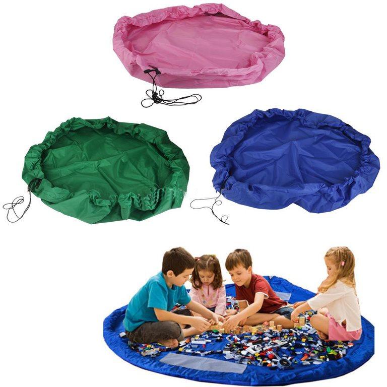XL Legomatta / Leksaksmatta och Förvaringspåse / Leksaksförvaring i Nylon (Blå)