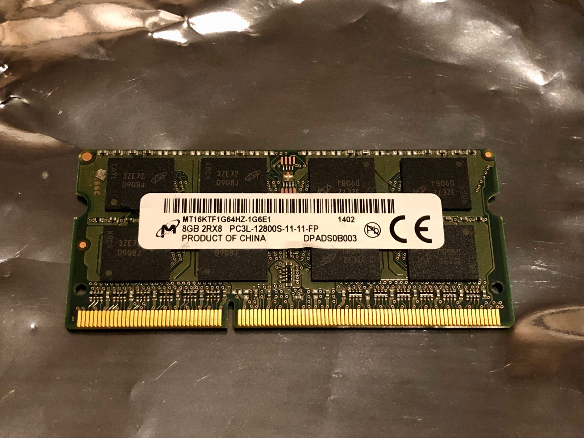 Ramminne 8 GB micron SO-Dimm DDR3 - 1600 Mhz - 12800S