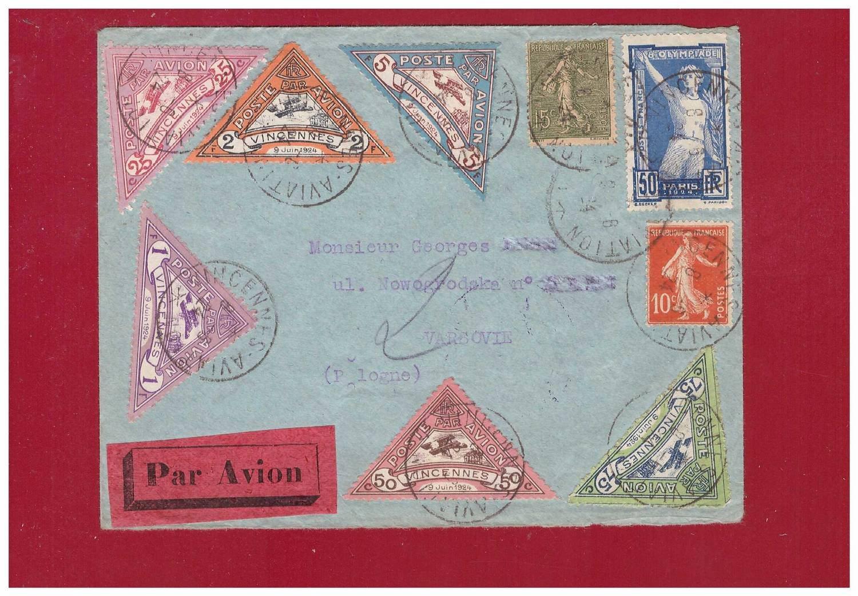 FRANCE. Airmail VINCENNES lables, complete set. 1924