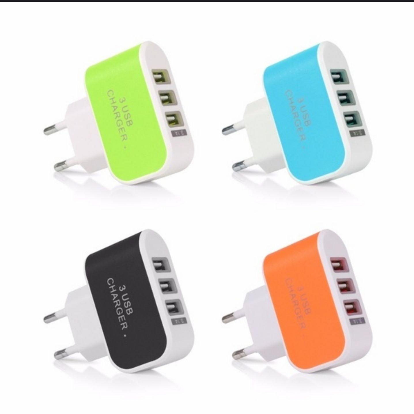 USB Laddare med tre uttag. Färg Orange (346041018) ???Köp på