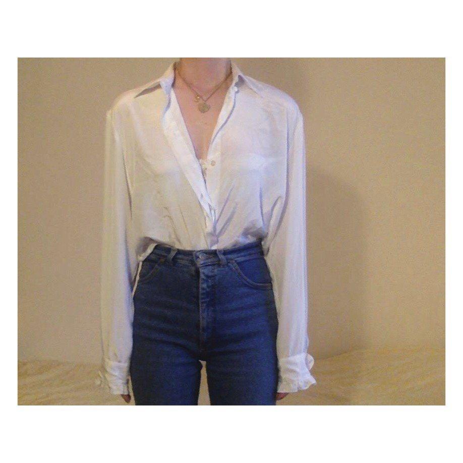 Vintage glansig silkig siden silke blus volang skjorta vit detalj oversize  bas f708826bf21db