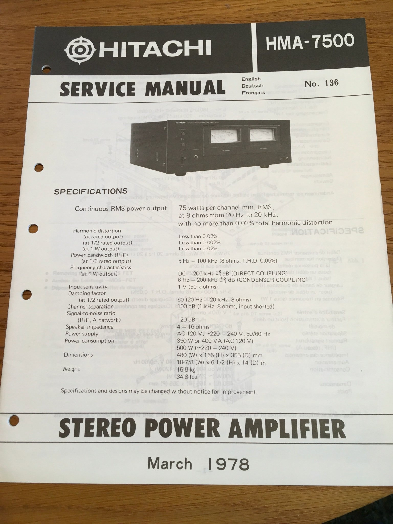 Service Manual Hitachi HMA-7500
