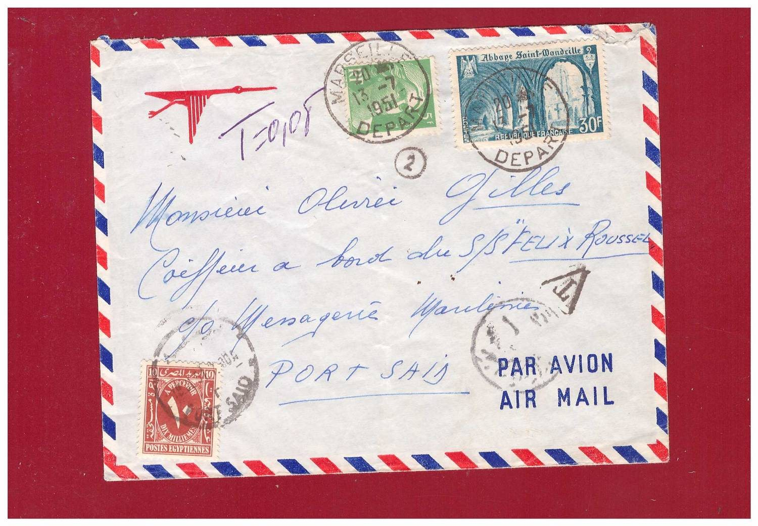 FRANCE. 30+5fr airmail to Egypt. Postage Due.