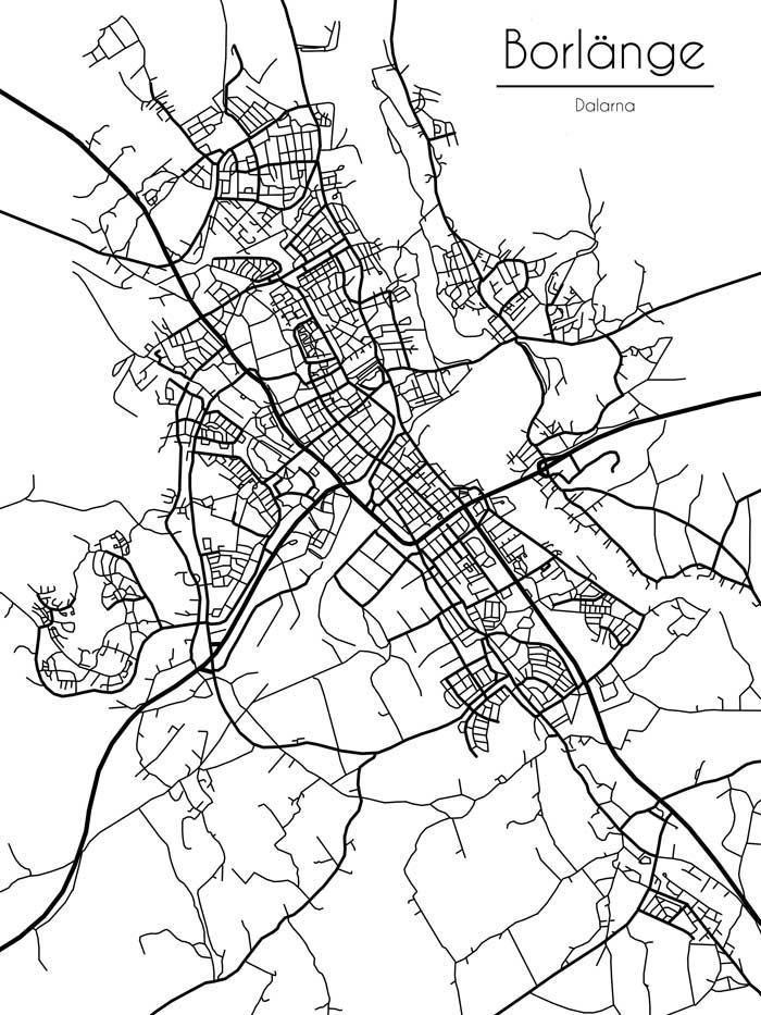 Karta Borlange.Karta Over Borlange 30x42 Cm 337191402 ᐈ Glimma Design Pa Tradera