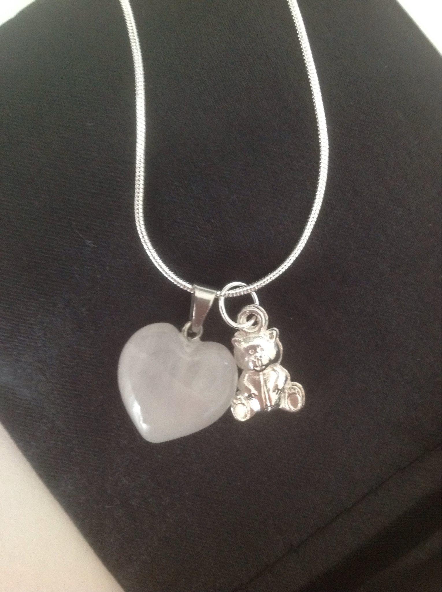 Halsband stämplat 925 hjärta ROSENKVARTS berlock nallebjörn fin Gåva barn aeddb45531d59