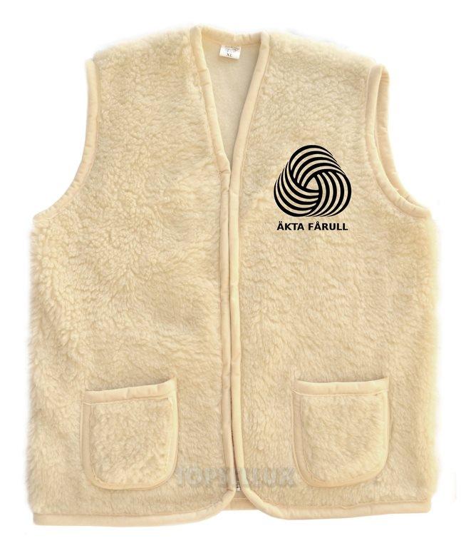 Fin vit varm höst vinter snygg väst tröja ärmlös jacka merinoull herr ULL  stl L dc341d5cb08a8