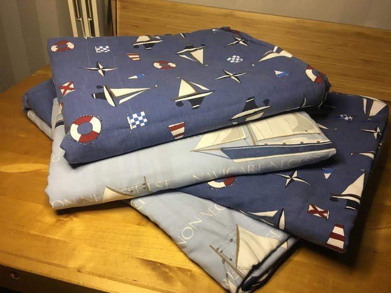 Båt motiv.Påslakan 4 st Flerfärgad.Marinblå och ljusblå.Till Enkel säng.