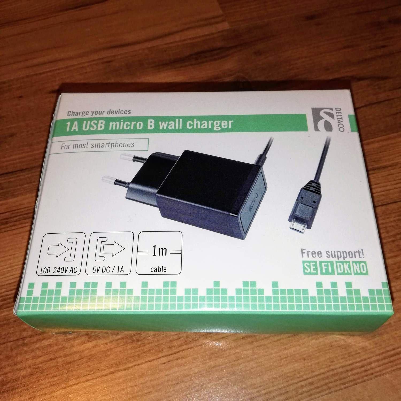 Väggladdare med 1 meter kabel micro USB B, 1A