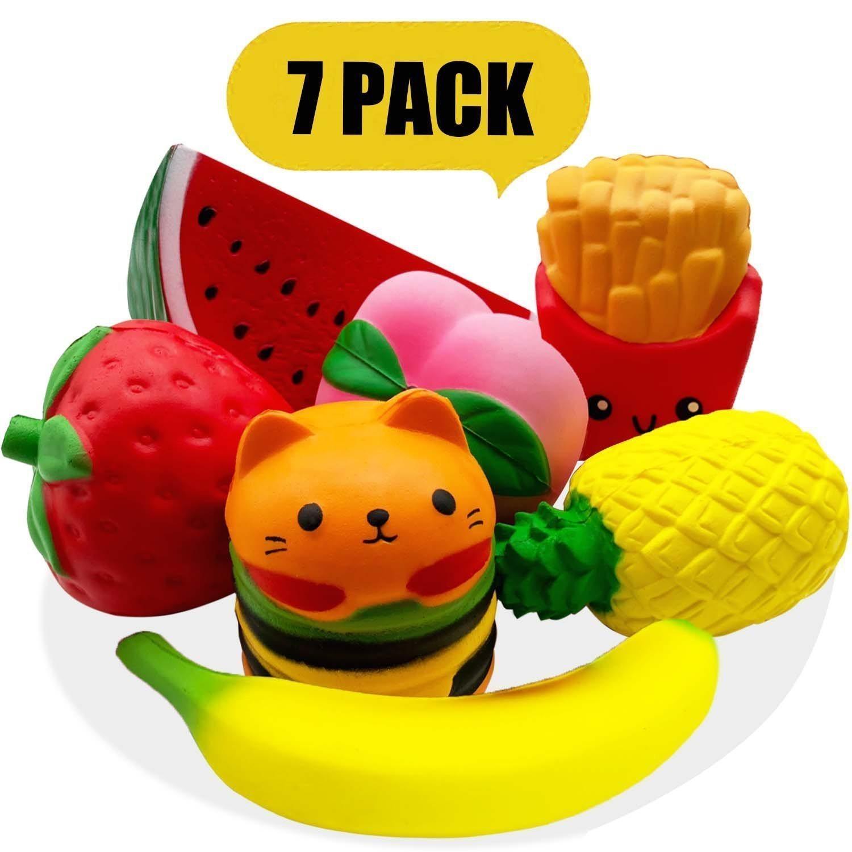 Squishies långsammare och doftande frukt Squishy Stress Relief Toys 7Pcs
