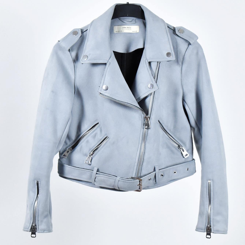 Ljusblågrå jacka från Zara Basic, strl M (405198206) ᐈ