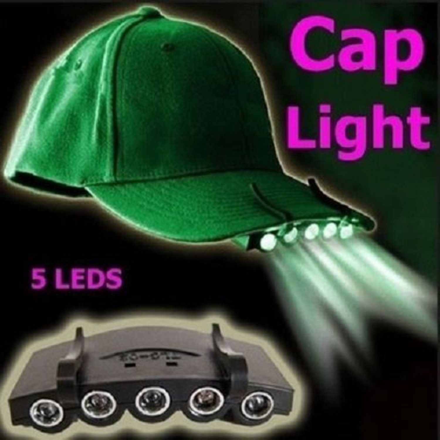 Clip On 5 LED Head Cap Hat Light Head...