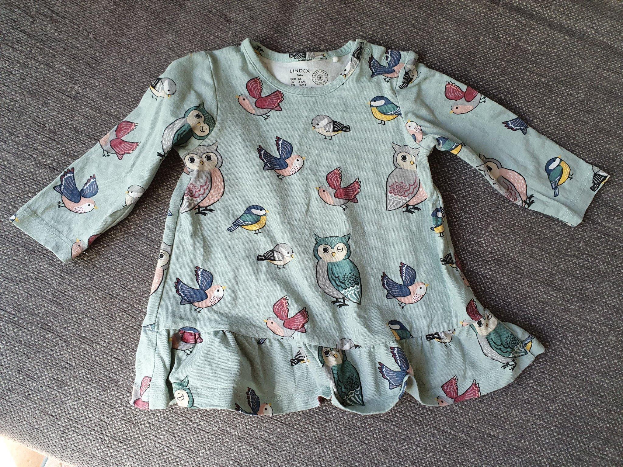 Lindex klänning med fåglar, storlek 68 (411393884) ᐈ Köp på