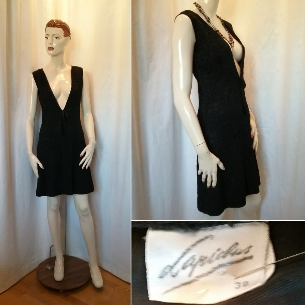 d267ba420ce7 Vintage retro Lapidus svart spetsklänning kort snäv väldigt urringad 60-tal  ...