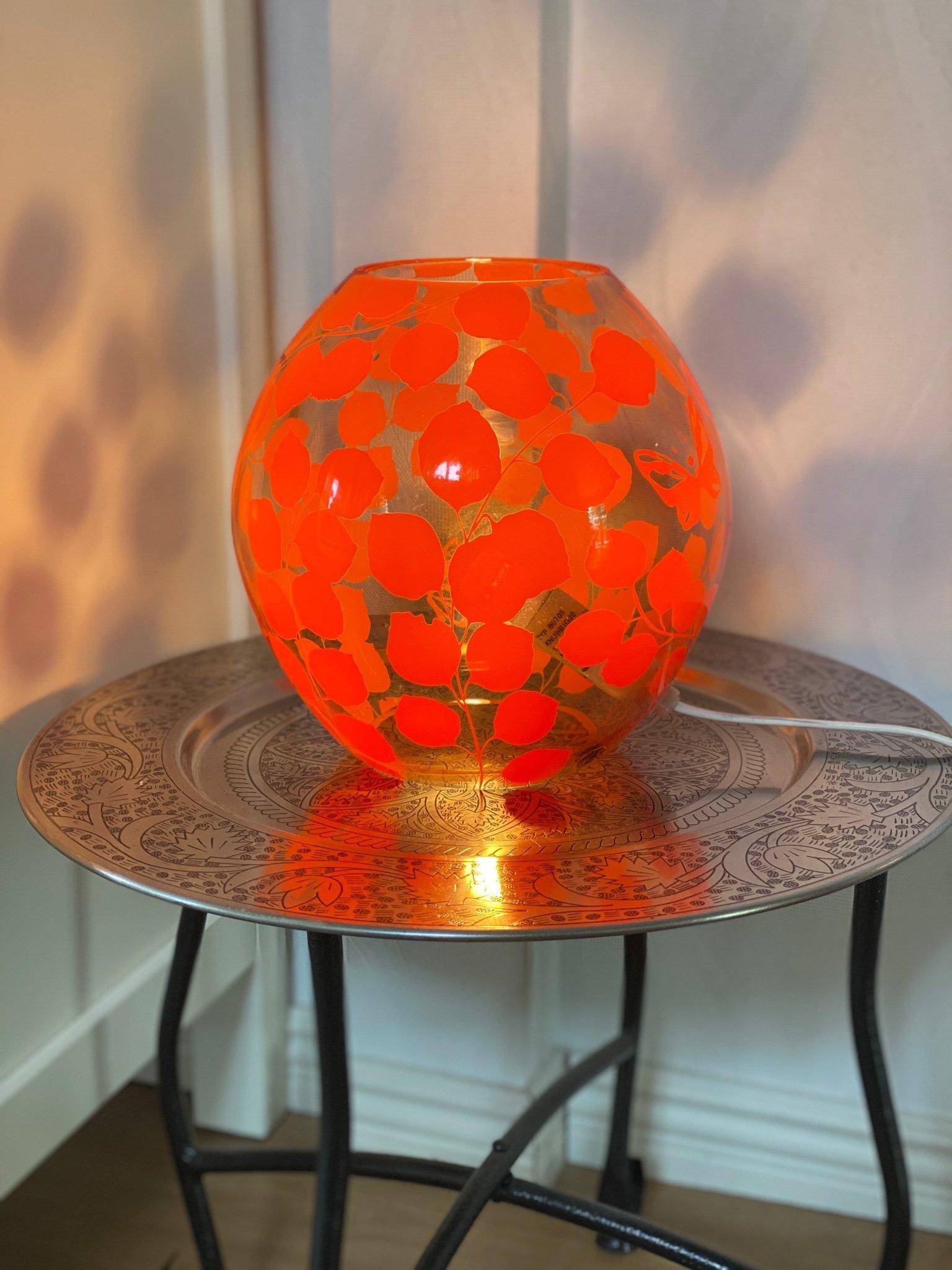 Ikea knubbig bordslampa fönsterlampa lampa retro stil orange glas boll