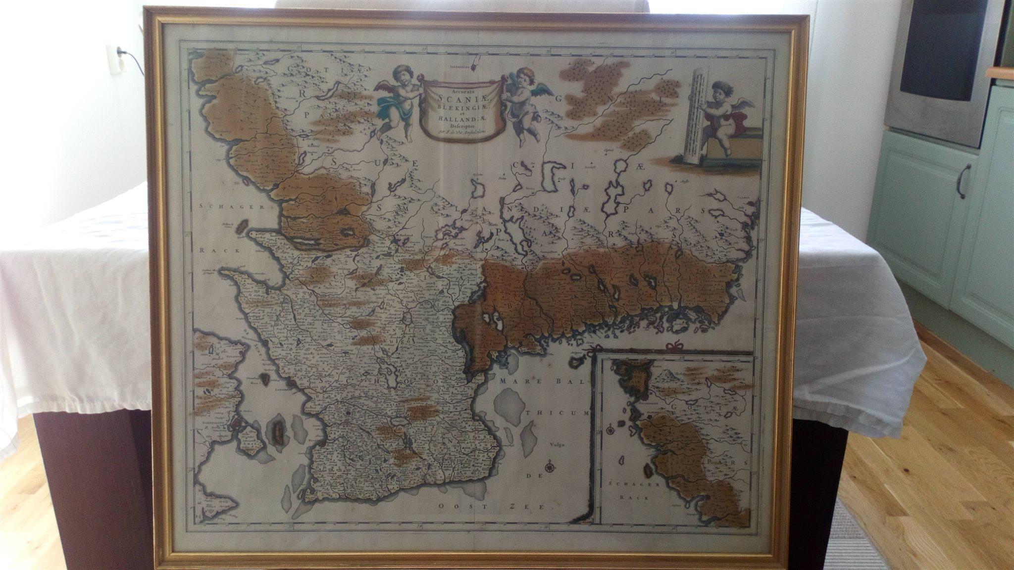 Karta Blekinge Skane.Antik Karta Over Blekinge Skane Och Halland 339281634 ᐈ Kop Pa