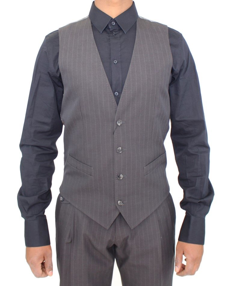 Dolce & Gabbana - Gray Striped Formal Dress Vest