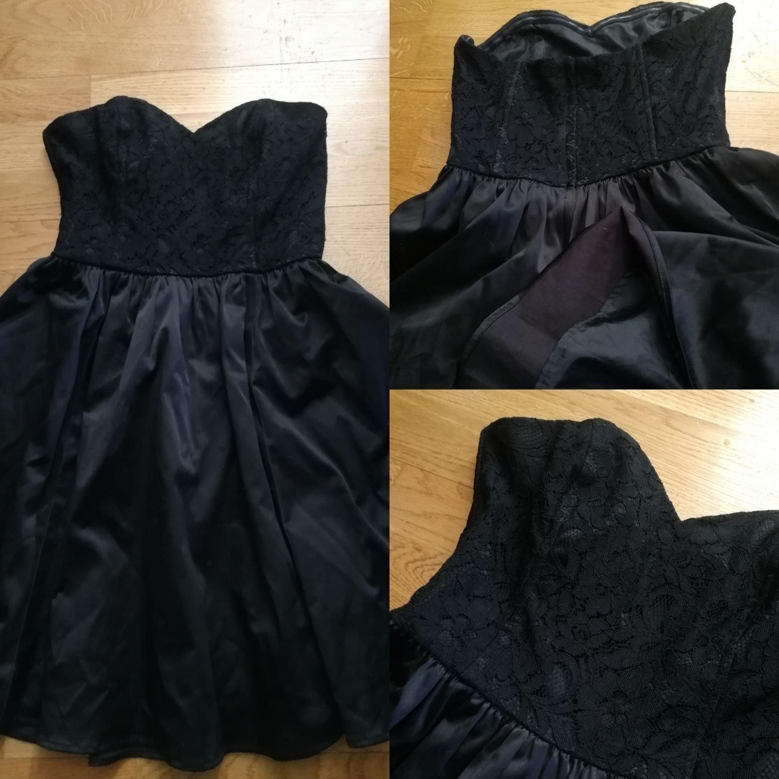81d4f21ff255 Svart kort festklänning i siden och spets (348444634) ᐈ Köp på Tradera